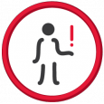 Icon of person holding a red exclamation mark representing a human rights problem