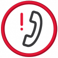 Icon of phone with red exclamation mark next to it