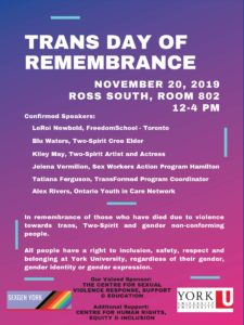 Poser for Trans Day of Remembrance, November 20, 2019, Ross South, room 802, York University, Keele Campus